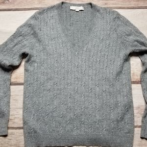 Loft Soft Metallic Cabled Silver Sweater
